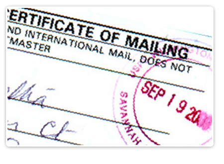 CERTIFICATE OF MAILING SERVICE