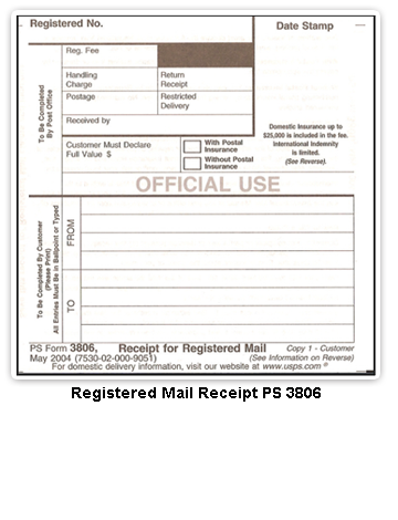 Depositing With The Usps Your Registered Mail Item Along With A